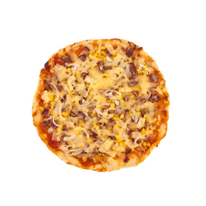 Wyśmienicie włoska pizza odizolowywająca na białym tle Odgórny widok fotografia royalty free