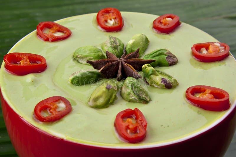 Wyśmienicie zielony kokosowy pistacjowy curry zdjęcia royalty free