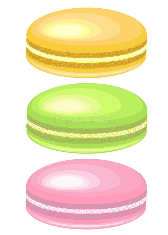 Wyśmienity ciasteczko Wyśmienicie słodkość, powiewny Francuski makaronu makaron Ulubiona delikatność dzieci i dorosli wektor royalty ilustracja