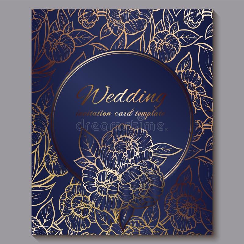 Wyśmienity królewski luksusowy ślubny zaproszenie, złoto na, koronkowy ulistnienie robić róże, błękitnym tle z ramą i miejscu dla ilustracji