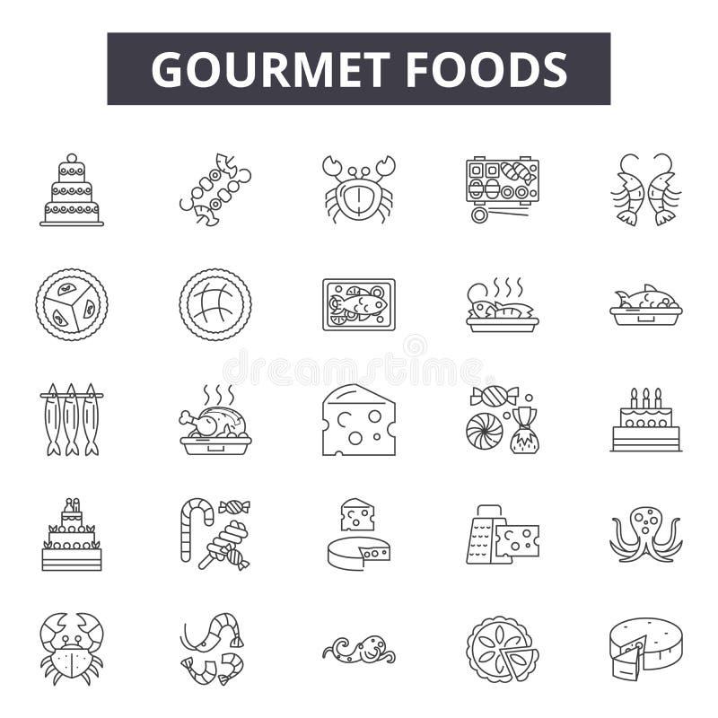 Wyśmienitych foods kreskowe ikony, znaki, wektoru set, kontur ilustracji pojęcie royalty ilustracja