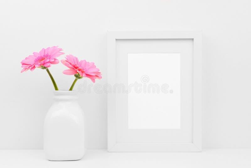 Wyśmiewa w górę biel ramy i różowi stokrotka kwiaty w wazie przeciw biel ścianie na półce fotografia royalty free