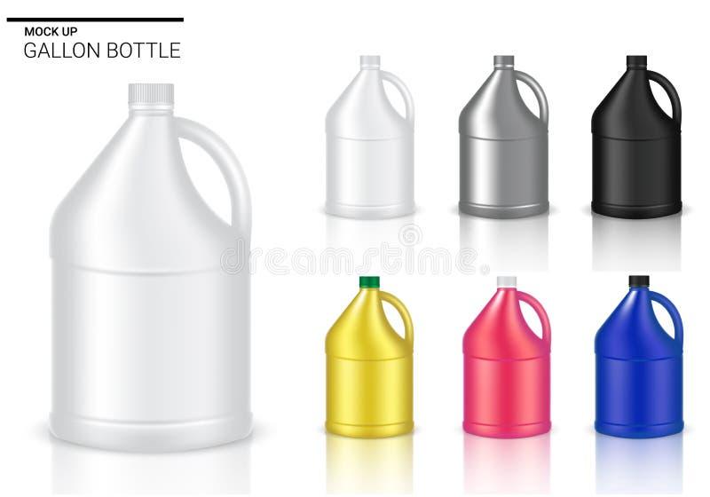 Wyśmiewa w górę butelka Realistycznego Plastikowego galonu Pakuje produkt Dla Chemicznego rozwiązania lub Dojnej butelki odizolow royalty ilustracja