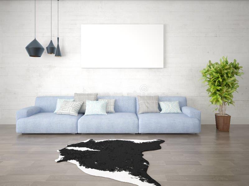 Wyśmiewa w górę eleganckiego żywego pokoju z wielką modną kanapą obraz stock