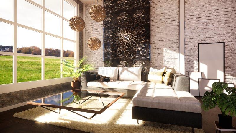 Wyśmiewa w górę Loft nowożytnego wnętrza projektującego jako otwartego planu nowożytny mieszkanie ?wiadczenia 3 d royalty ilustracja