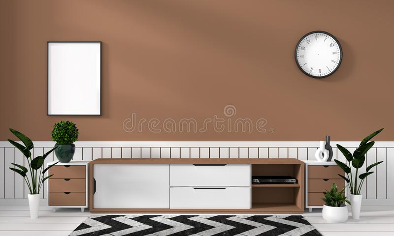 Wyśmiewa w górę Mądrze Tv Mockup z pustym czerń ekranem na gabinecie i dekoracji w brązu koloru pokoju ?wiadczenia 3 d ilustracja wektor