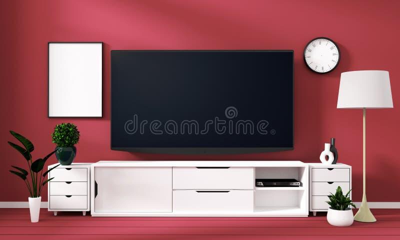 Wyśmiewa w górę Mądrze Tv Mockup z pustym czerń ekranem na gabinecie i dekoracji w cora koloru pokoju ?wiadczenia 3 d royalty ilustracja