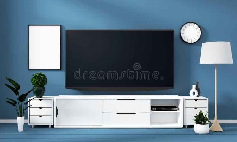Wyśmiewa w górę Mądrze Tv Mockup z pustym czerń ekranem na gabinecie i dekoracji w cyans koloru pokoju ?wiadczenia 3 d ilustracji