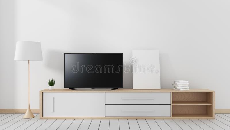 Wyśmiewa w górę Mądrze Tv z pustym czerń ekranu obwieszeniem na carbinet, nowożytny żywy pokój z drewnianą białą podłogą ?wiadcze royalty ilustracja