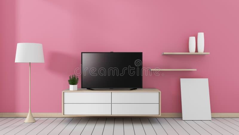 Wyśmiewa w górę Mądrze Tv z pustym czerń ekranu obwieszeniem na gabinetowym, nowożytnym różowym żywym pokoju, ?wiadczenia 3 d royalty ilustracja