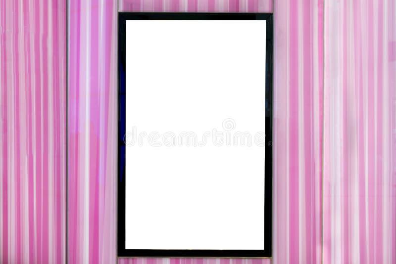 Wyśmiewa w górę pionowo signboard przy menchiami, pusty bielu ekran dla reklamować obrazy royalty free