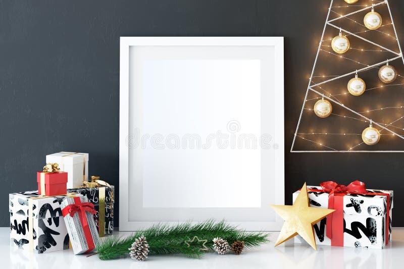 Wyśmiewa w górę plakatów w żywym izbowym Bożenarodzeniowym wnętrzu Wewnętrzny scandinavian styl 3D rendering, 3D ilustracja zdjęcie stock
