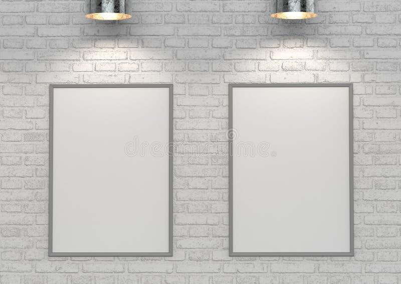 Wyśmiewa w górę plakatów na białym ściana z cegieł z lampą ilustracja 3 d royalty ilustracja