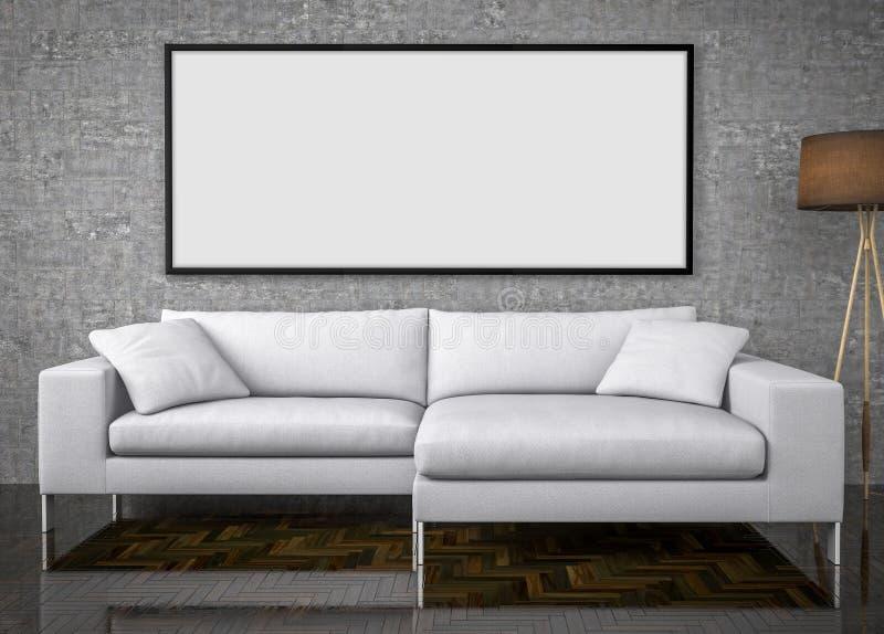 Wyśmiewa w górę plakata, duża kanapa, betonowej ściany tło, 3d illustrat royalty ilustracja