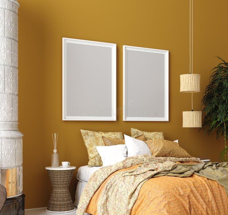 Wyśmiewa w górę plakata, musztarda koloru sypialni wnętrze z wzorzystym łóżkiem, czecha styl fotografia stock
