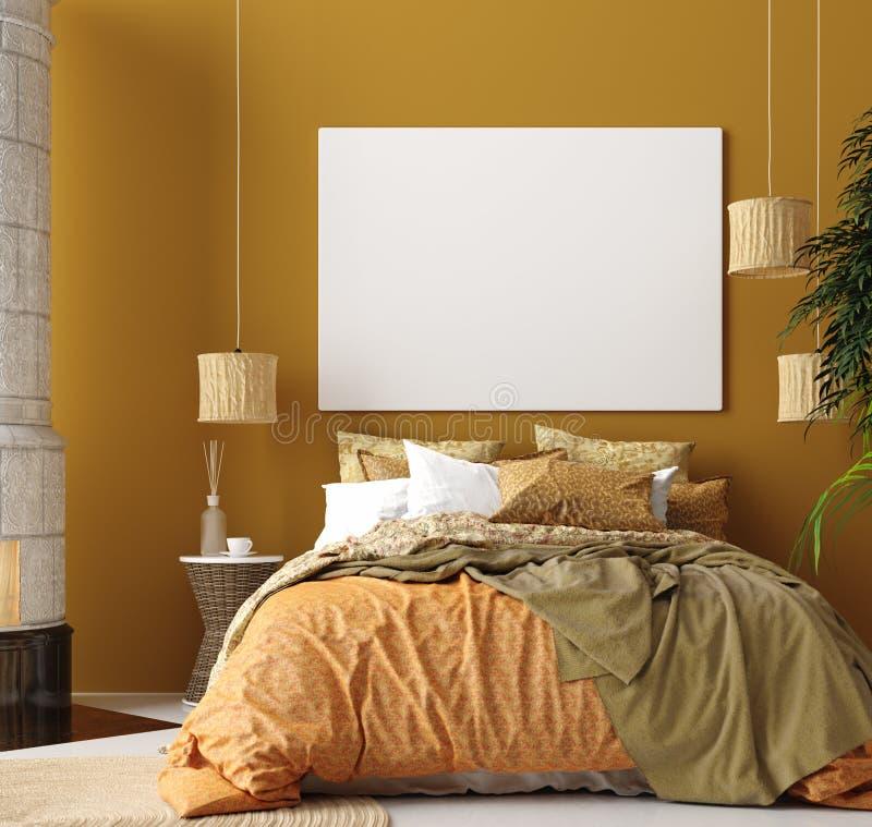 Wyśmiewa w górę plakata, musztarda koloru sypialni wnętrze z wzorzystym łóżkiem, czecha styl ilustracja wektor