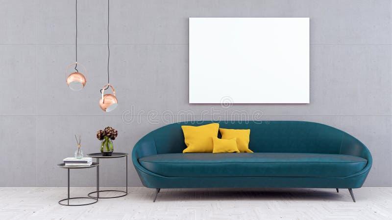 Wyśmiewa w górę plakata, nowożytny żywy pokój, 3d odpłaca się ilustracja wektor
