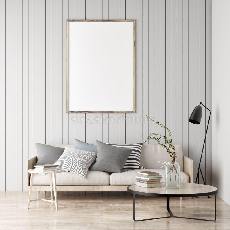 Wyśmiewa w górę plakata, Skandynawski pokój, twój grafika tutaj, dalej ilustracji