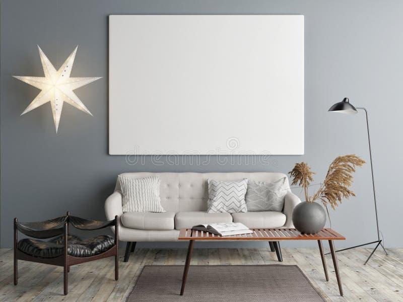 Wyśmiewa w górę plakata, Skandynawski projekt, Bożenarodzeniowa dekoracja, ilustracji