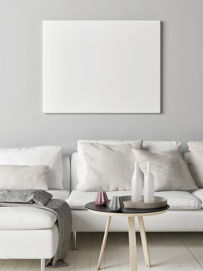 Wyśmiewa w górę plakata w Skandynawskim żywym pokoju, twój grafika tutaj, ilustracji
