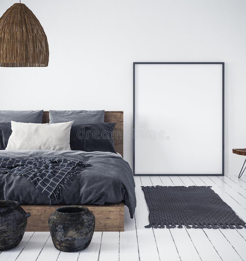 Wyśmiewa w górę plakata w sypialni wnętrzu, etniczny styl ilustracja wektor