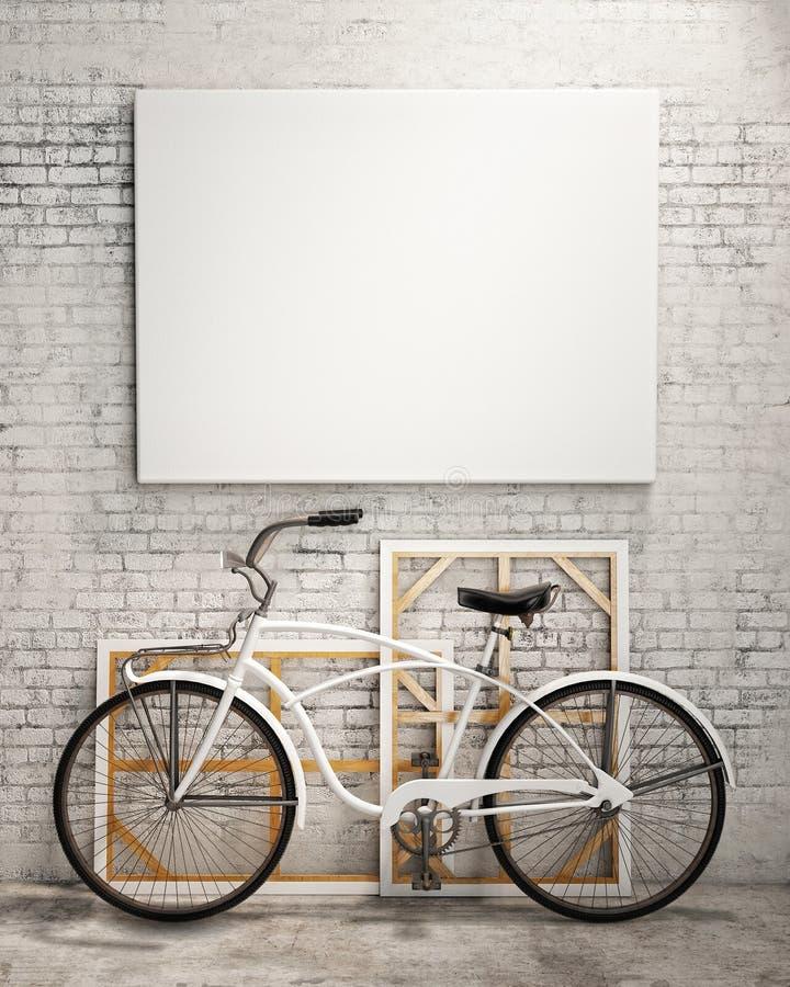 Wyśmiewa w górę plakata w loft wnętrzu z bicyklem, tło ilustracji