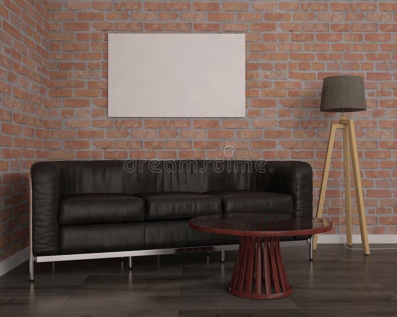 Wyśmiewa w górę plakata z czarną kanapą, 3d ilustracja obrazy royalty free