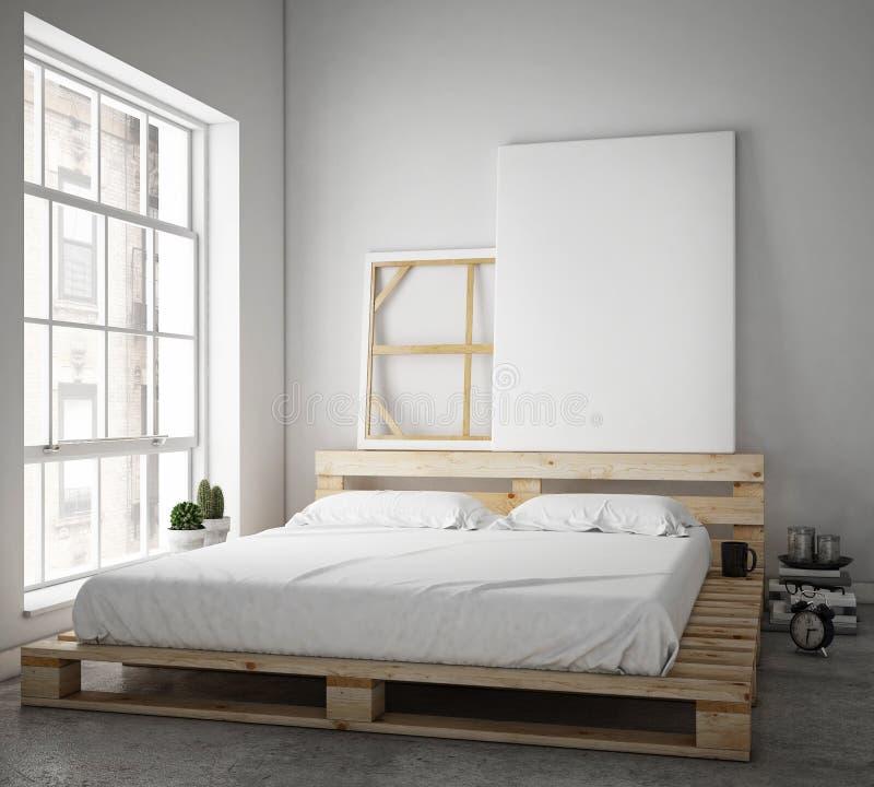 Wyśmiewa w górę plakata z rocznika modnisia loft wewnętrznym tłem, obraz stock