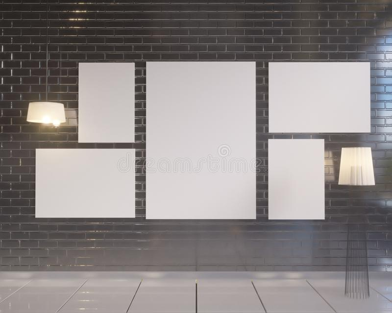 Wyśmiewa w górę plakata z rocznika modnisia minimalizmu pastelowego loft wewnętrznym tłem, 3D rendering ilustracji