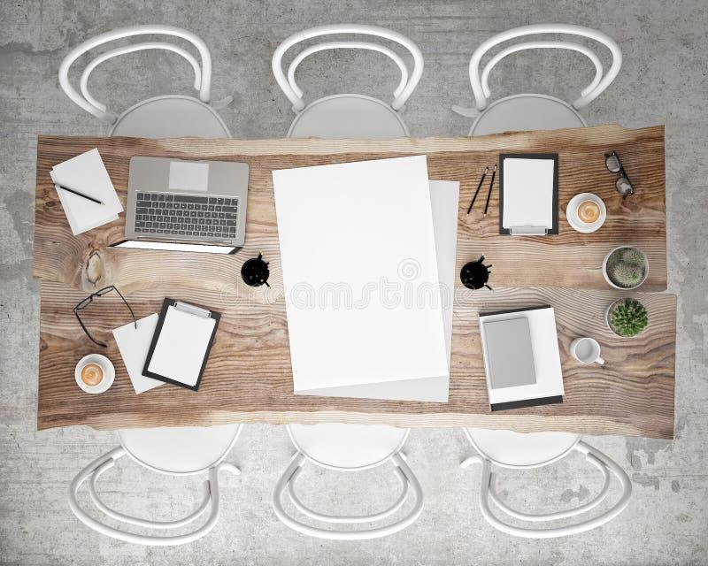 Wyśmiewa w górę plakatowego spotkania konferencyjnego stołu z biurowymi akcesoriami i laptopami, modnisia wewnętrzny tło, obraz royalty free