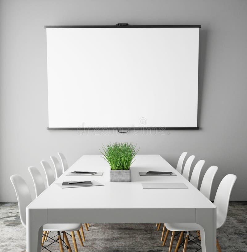 Wyśmiewa w górę projekcyjnego ekranu w pokoju konferencyjnym z konferencyjnym stołem, modnisia wewnętrzny tło, obraz royalty free