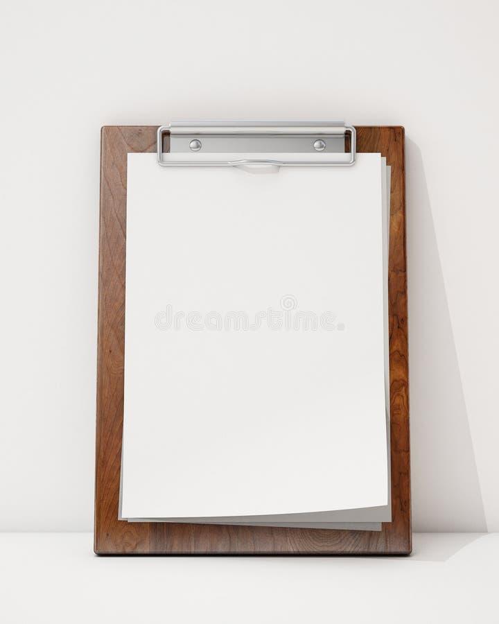 Wyśmiewa w górę pustego drewnianego schowka jonu ścianę białą podłoga i, tło ilustracja wektor