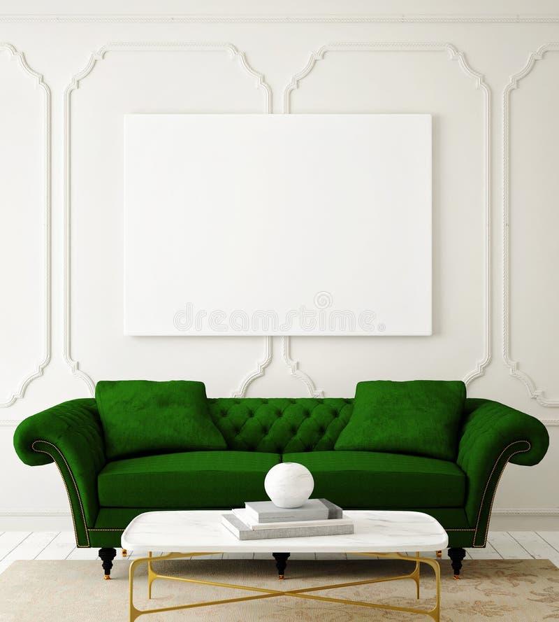 Wyśmiewa w górę pustego plakata na ścianie modnisia żywy pokój, ilustracji