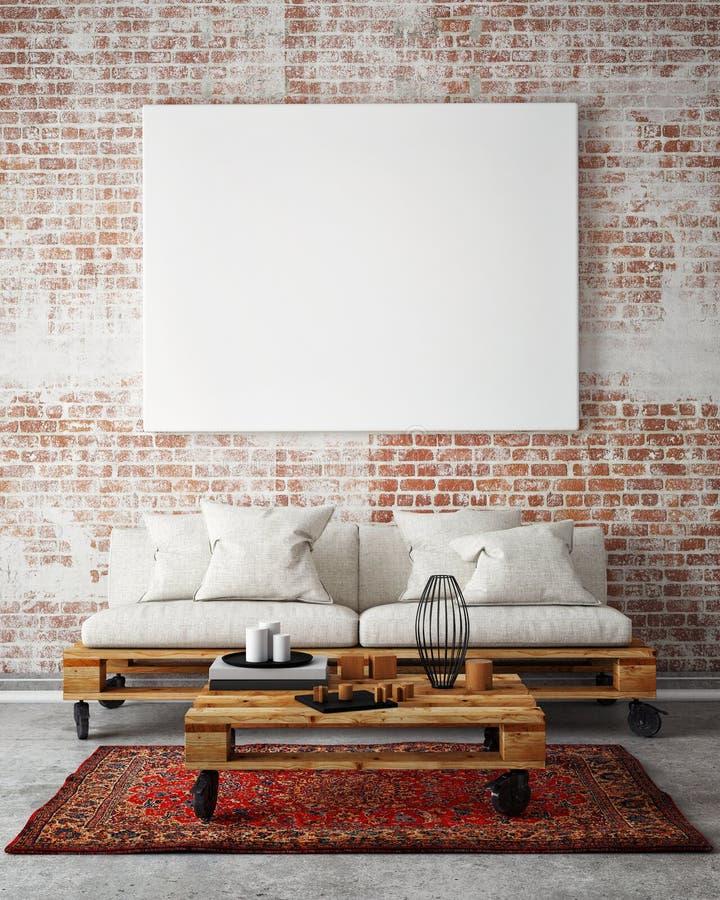 Wyśmiewa w górę pustego plakata na ścianie pokój dzienny, 3D ilustracja ilustracji