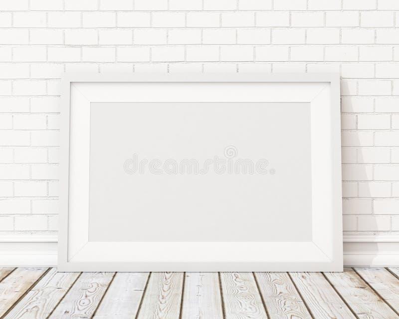 Wyśmiewa w górę pustej białej horyzontalnej obrazek ramy na białym ściana z cegieł i rocznik podłoga