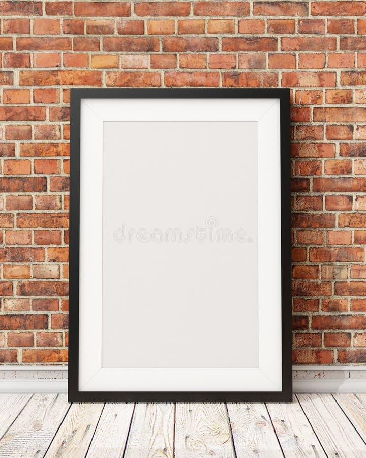 Wyśmiewa w górę pustej czarnej obrazek ramy na starym ściana z cegieł i drewnianej podłoga, tło obraz stock