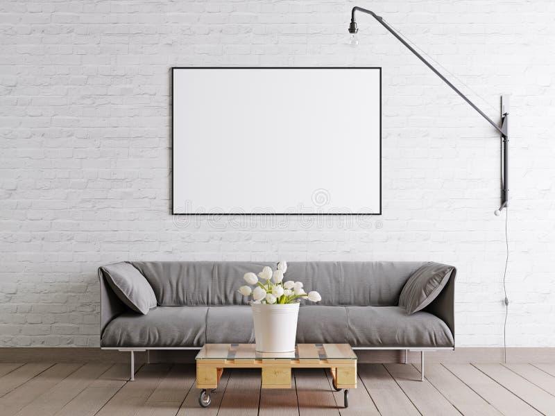 Wyśmiewa w górę ramowego plakata w scandinavian stylu pokoju dziennym z kanapą, lampą i rośliną w wiadrze na biel ściany tle tkan ilustracji