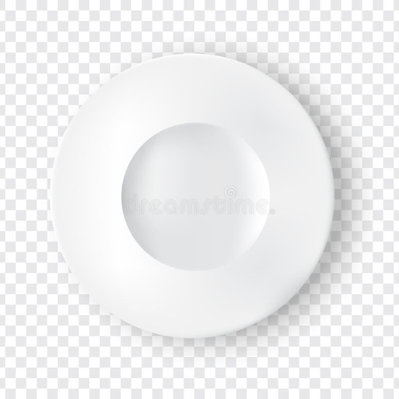 Wyśmiewa w górę Realistycznego bielu talerza lub Rozdaje dla jedzenia z przejrzystą tło ilustracją ilustracji
