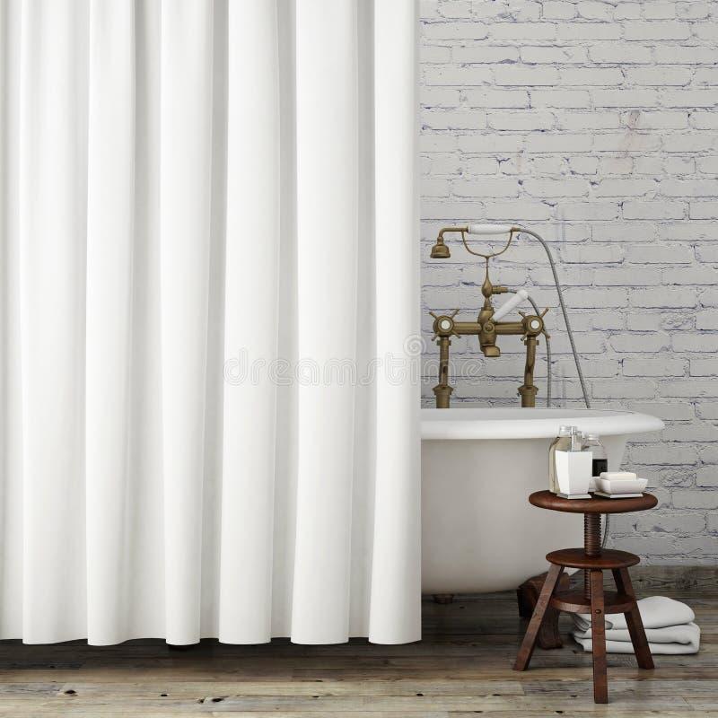 Wyśmiewa w górę rocznika modnisia łazienki z białymi zasłonami, wewnętrzny tło, fotografia royalty free