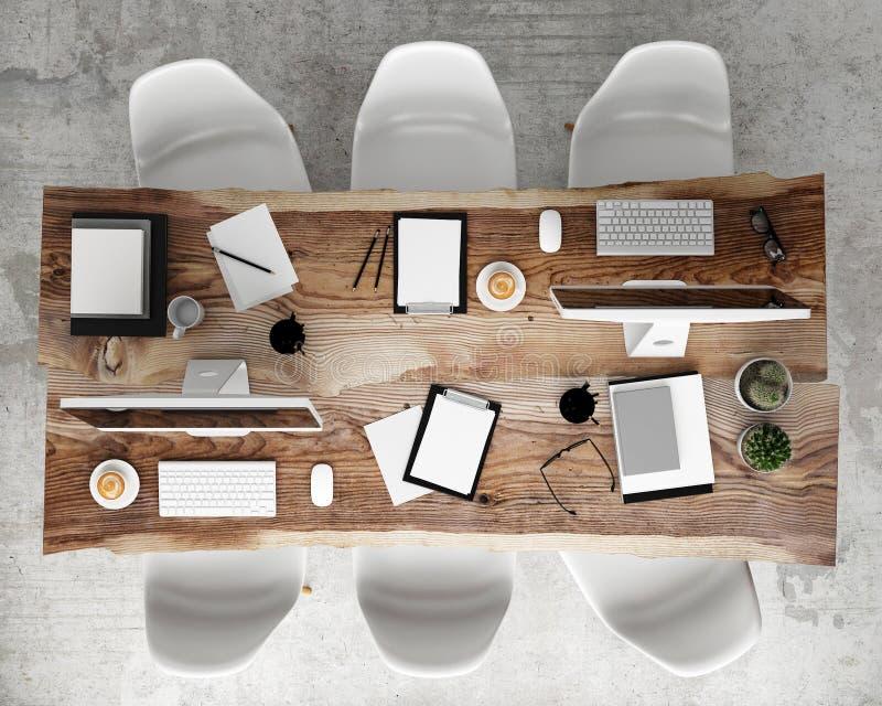 Wyśmiewa w górę spotykać konferencyjnego stół z biurowymi akcesoriami i komputerami, modnisia wewnętrzny tło, zdjęcia royalty free