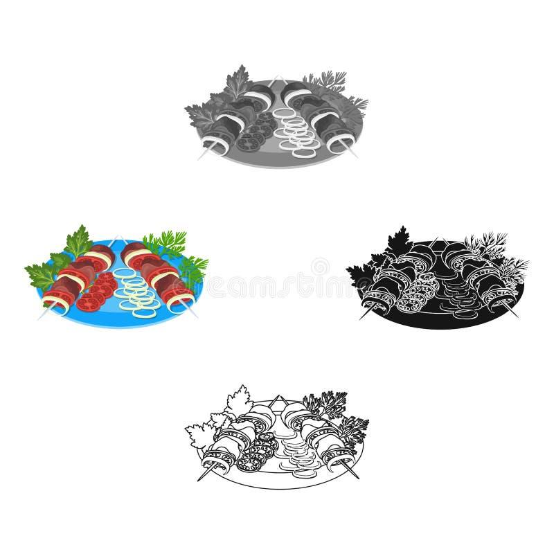Wy?mienicie jedzenie, shish kebab i sa?atka, Jedzenia i kucharstwa pojedyncza ikona w kresk?wce, czer? symbolu stylowy wektorowy  royalty ilustracja