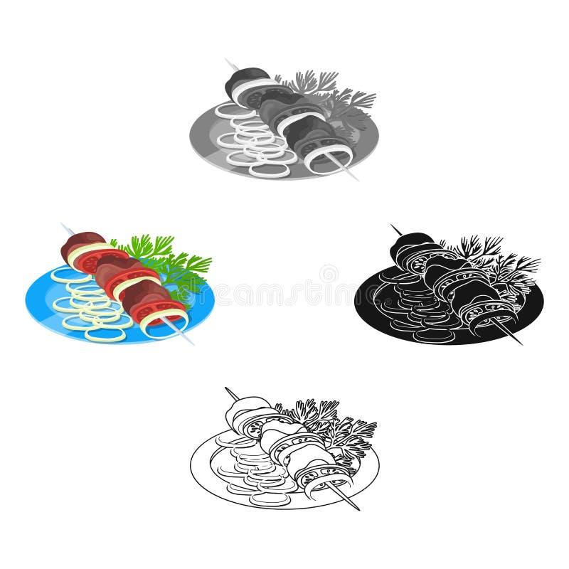 Wy?mienicie jedzenie, shish kebab i sa?atka, Jedzenia i kucharstwa pojedyncza ikona w kresk?wce, czer? symbolu stylowy wektorowy  ilustracji