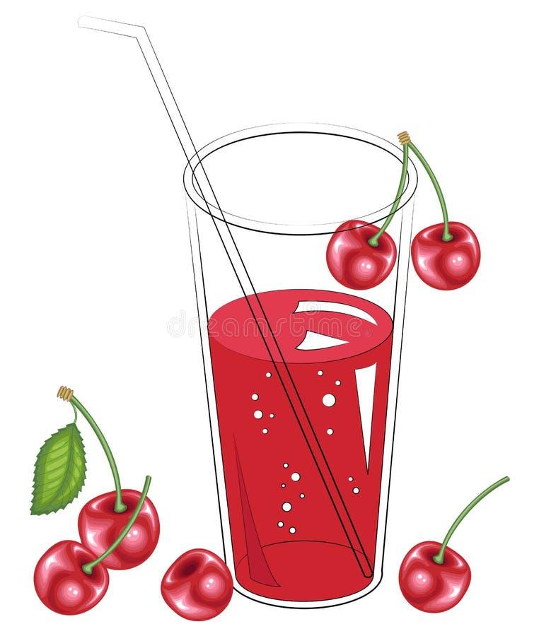 Wy?mienicie od?wie?aj?cy zdrowy nap?j Szk?o naturalny owocowy sok Czere?niowy jagodowy projekt r?wnie? zwr?ci? corel ilustracji w ilustracja wektor