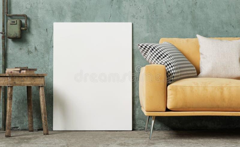 Wy?miewa w g?r? plakata w rocznika pokoju, pomara?czowa kanapa z retro tynk ?cian? royalty ilustracja