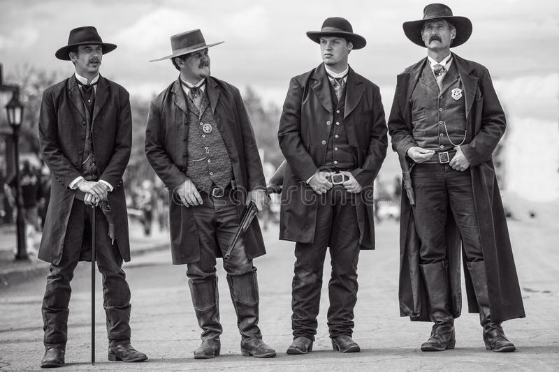 Wyatt Earp and brothers in Tombstone Arizona during wild west show. Earp brothers in Tombstone Arizona performing on the streets stock photography