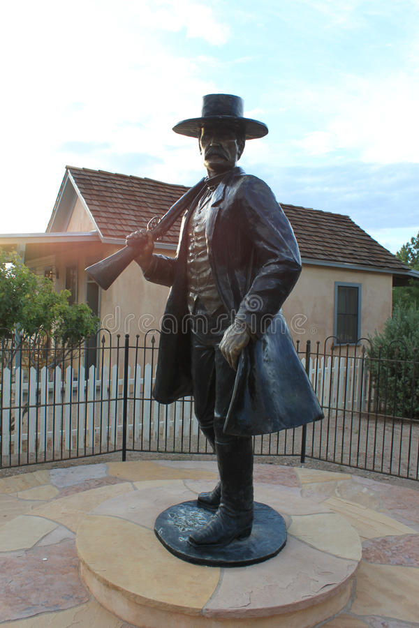 Wyatt Earp`s Statue in Tombstone, Arizona. Legendary Tombstone Lawman Wyatt Earp, famed for the Gunfight at the O.K. Corral, lived in this house located at the stock photos