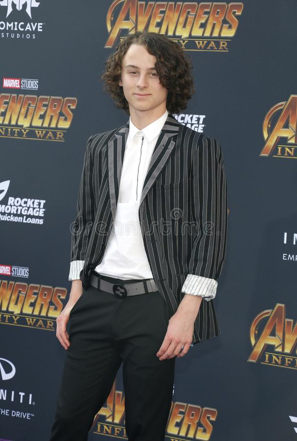 Wyatt Oleff. At the premiere of Disney and Marvel`s `Avengers: Infinity War` held at the El Capitan Theatre in Hollywood, USA on April 23, 2018 stock photography