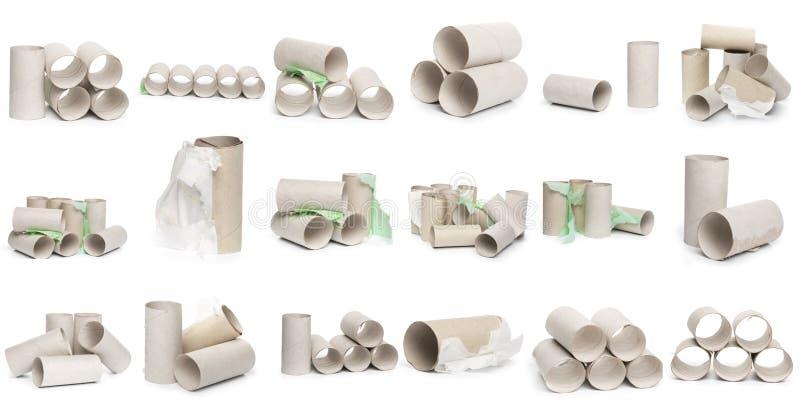 Wybór kartonowy papier toaletowy ruruje w różnorodnych przygotowaniach odizolowywających na białym tle obraz royalty free
