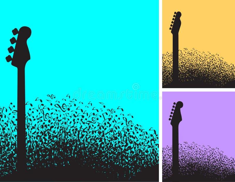 Wybór trzy muzykalnej notatki i gitary tło ilustracji