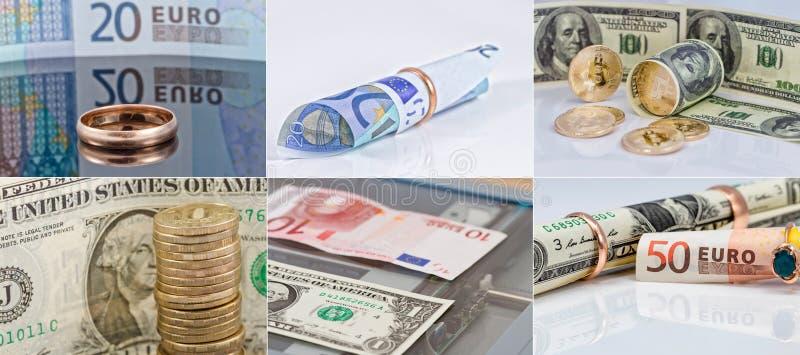 Wybór 6 fotografii w dobrym postanowieniu na temacie pieniądze, waluty i kupienia złota biżuteria, zdjęcie stock